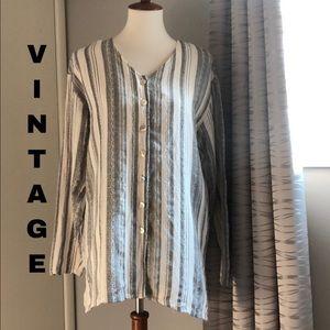 Vintage textured linen/rayon long sleeve